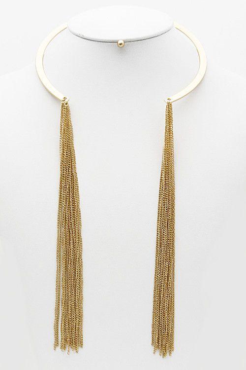 Open Collar Tassel Drop Hanging Necklace/Earrings Set