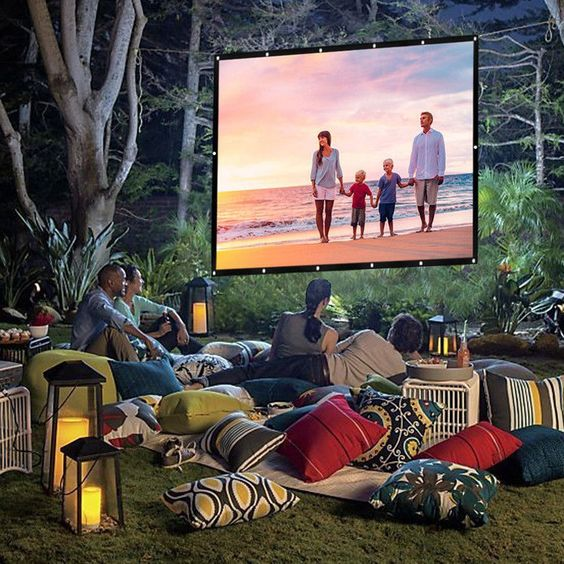 HDTV Outdoor Portable Movie Projector Screen Home Theater Cinema