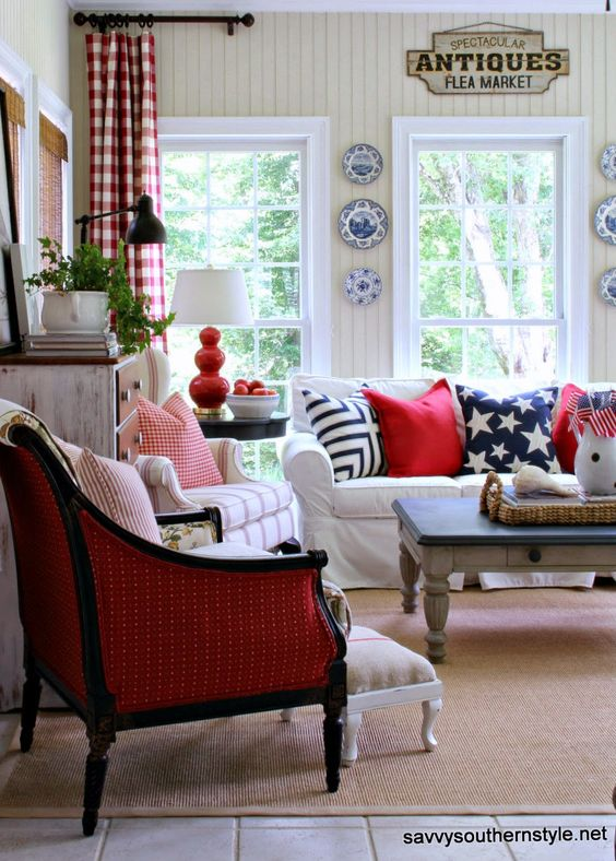 Blue Curtains blue curtains with white stars : Savvy Southern Style: Stars and Stripes in the Sun Room @ bHome.us ...