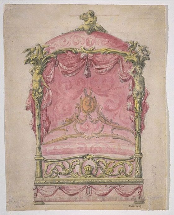 John Linnell, design for a State Bed, about 1765. Ink, pencil, red, yellow and black watercolour. V&A