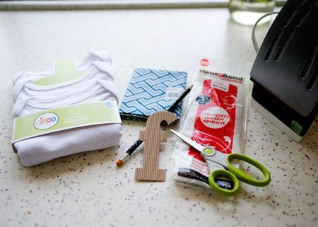 what you need a onesie fabric heat n bond letter templates scissors pencil iron