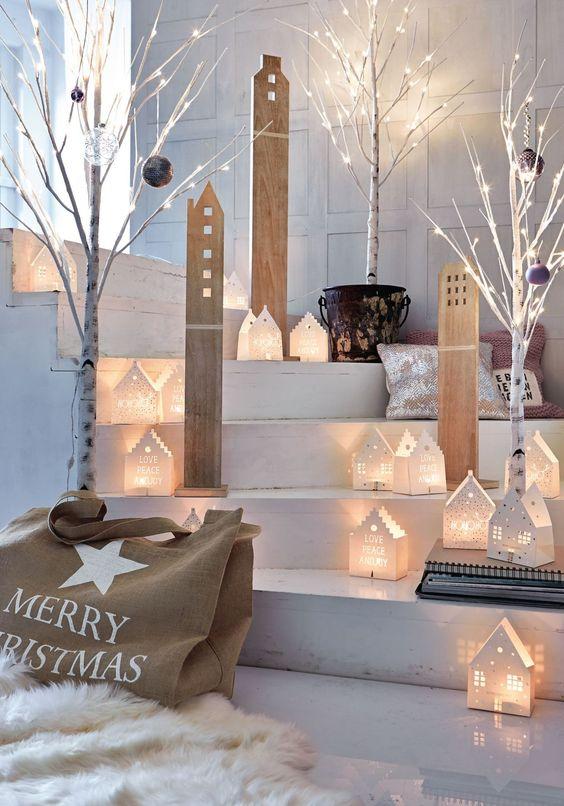 Deko haus set 3 tlg wei gewischt mit for Schaufenster weihnachtsdeko