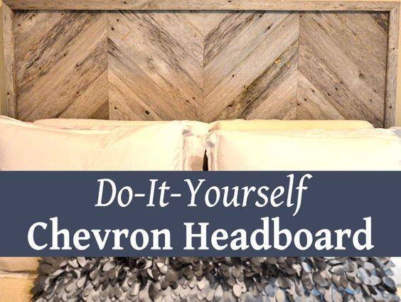 How to make a Chevron stripe headboard - I used old barn wood!