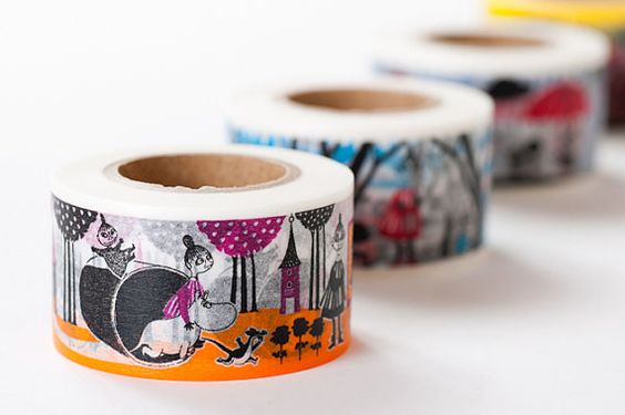 Moomin Story Book Series Japanese Washi Masking Tape / 4 Designs at your choice 30mm wide 15m long