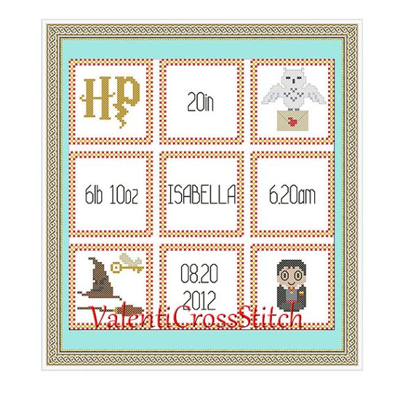 Harry Potter Birth Announcement Cross Stitch PatternHarry Potter – Baby Birth Announcement Cross Stitch Patterns