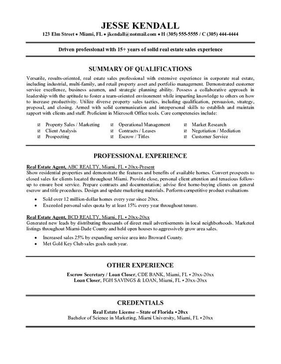 real estate agent resume example tammys resume