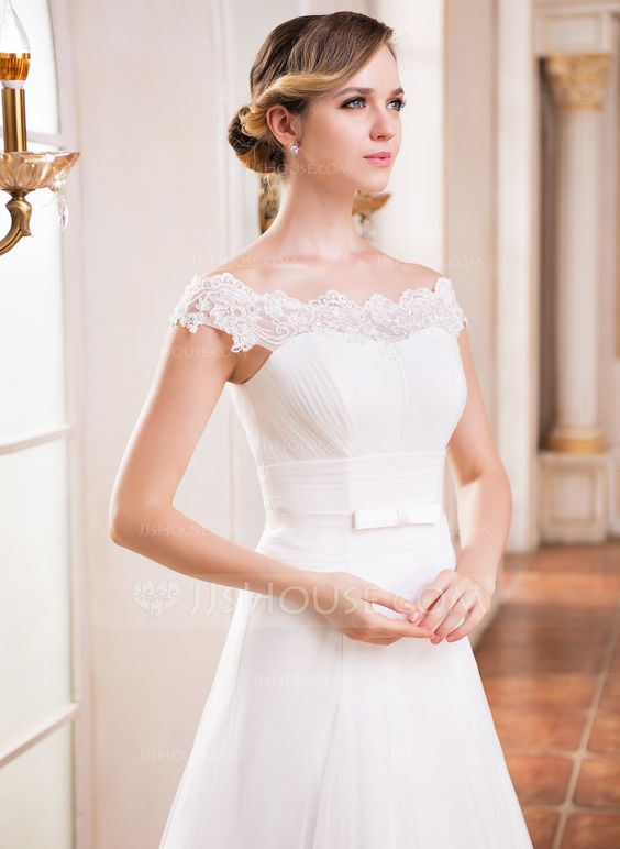 A Line Princess Off The Shoulder Floor Length Tulle Wedding Dress With Ruffle Lace Beading