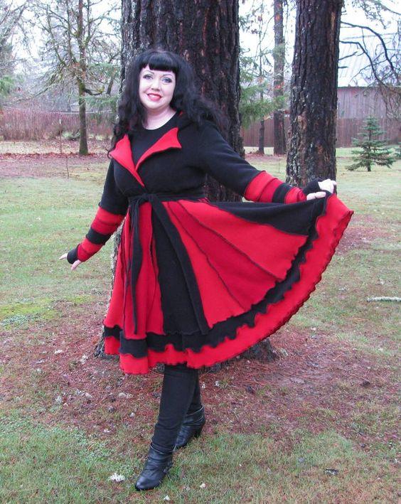 Red and black fleece coat: