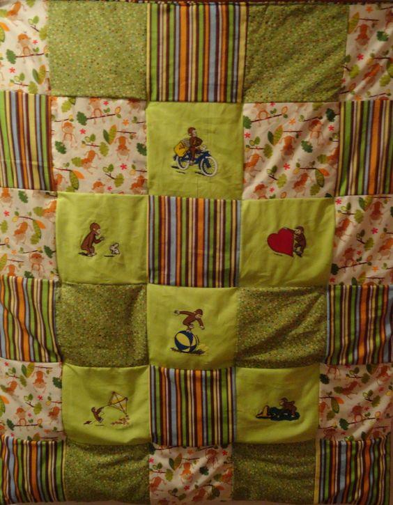 Handmade Curious George quilt