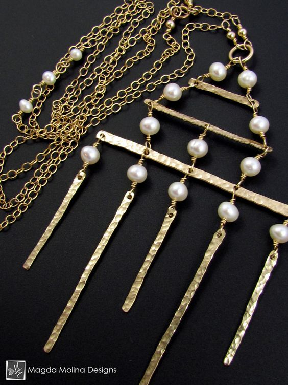 The Golden Architectural Necklace With Freshwater Pearls (jewelry, handmade, hand made, dressy, casual, red carpet, evening, wedding, bride, bridal, fashion, style, stylish, women, woman)