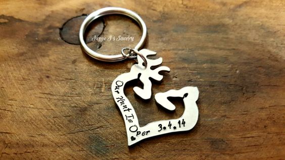 Hand Stamped Buck and Doe Heart Charm Keychain or Necklace, His Doe Her Buck Personalized Gift, Couples Personalized Gift, Gift for Him/Her by JazzieJsJewelry on Etsy