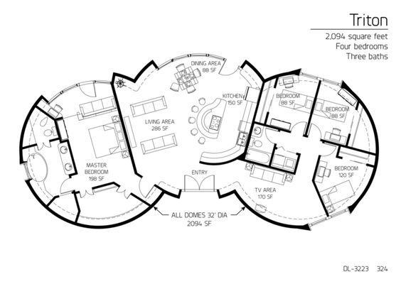 5 beroom dome home floor plans | Floor Plan: DL-3223: