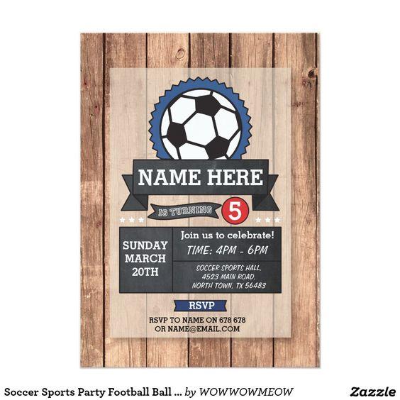 Le football folâtre l'invitation d'anniversaire de carton d'invitation  12,7 cm…