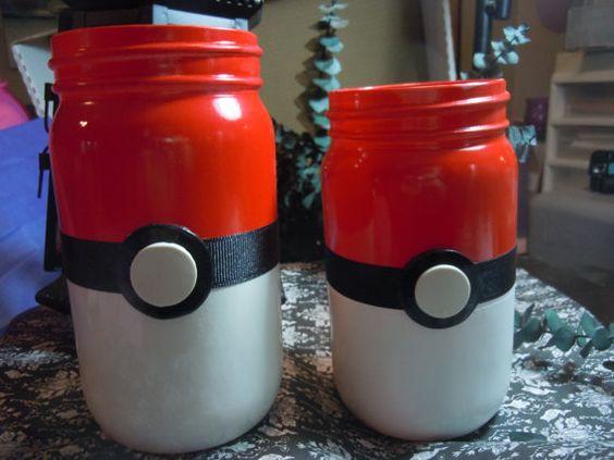 Pokemon Jars Mason Jar Decor Geek Decor Pokeball Jars by laminartz