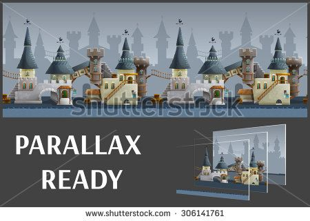 Seamless cartoon medieval city landscape, vector unending background with separated layers for game.
