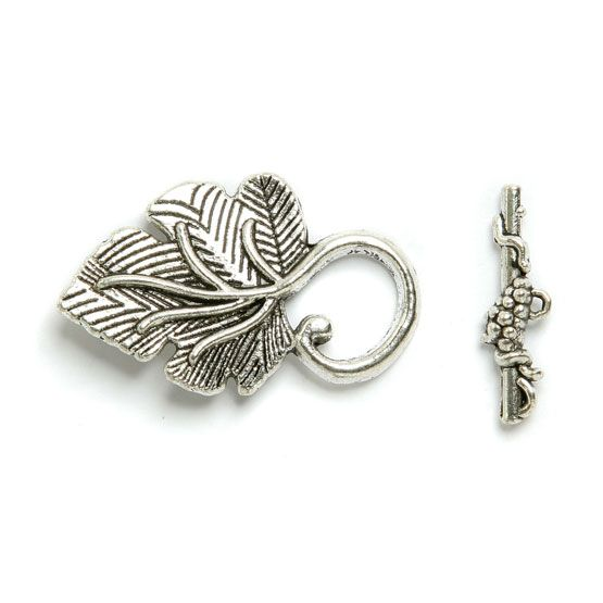 £1.01 Toggle clasp Antique Silver Plated Leaf 23x37mm