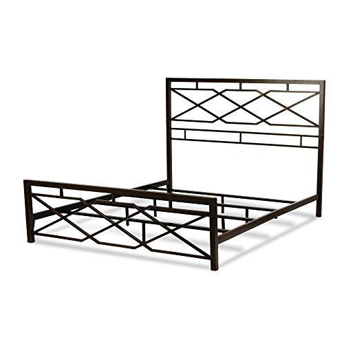 Alpine Snap Bed With Geometric Panel Design And Folding Metal Side Rails Rustic Pewter Finish King Steel Bed Frame Silver Bedding Metal Beds