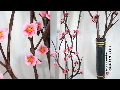 Diy Flores De Cerezo Flores De Sakura Para Decoracion Florero De Bricolaje S Nuraeni Youtube Felt Flower Tutorial Felt Flowers Diy Flower Vase Diy