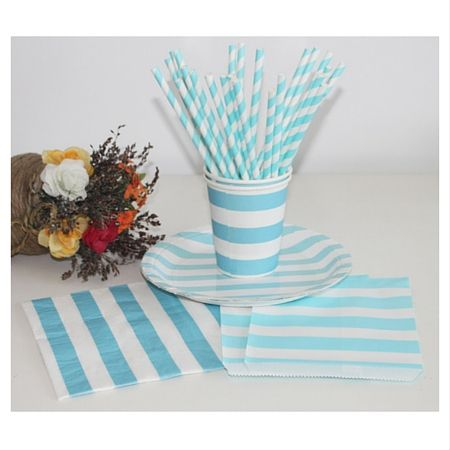 Wholesale Aqua and White Stripe Paper Straw