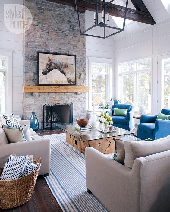 Muskoka Cottage Living Room With Navy And Kelly Pillows From Lacefield