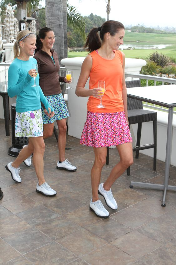 Perfect for any workout, new longer length is great from golf course to happy hour! http://store.runningskirts.com/blue-blossom-golf-skirt