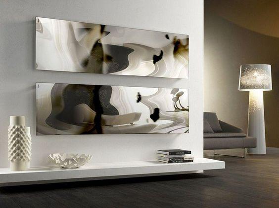 Radiateur électrique design, pose horizontal façon oeuvre d'art et effet miroir déformant.