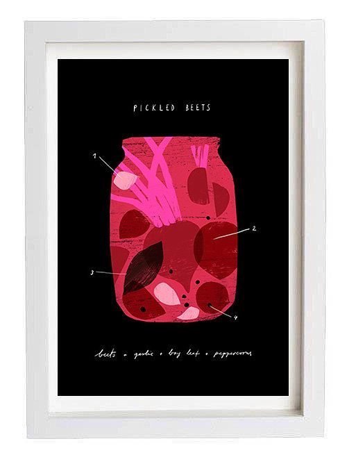 Pickled Beets  Foodie art print  11x15  archival fine art by anek