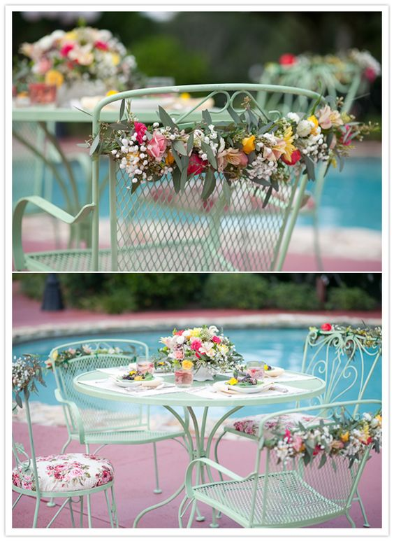 Floral wrapped table and chairs - gorgeous!