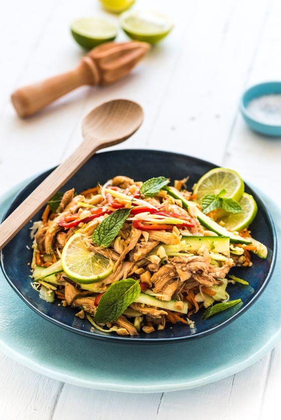 Asian Inspired Shredded Chicken Salad: