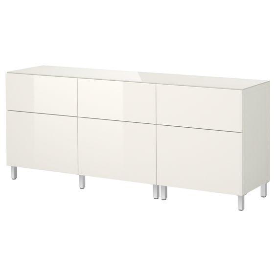 Storage combination w doorsdrawers  whitehigh gloss white  IKEA