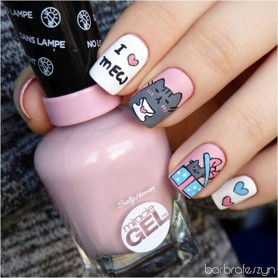 Freehand Pusheen for Valentine's Day nail art by barbrafeszyn: