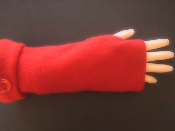 Fingerless Gloves Red Cashmere many colors & styles available  by ArtisanFeltStudio on Etsy