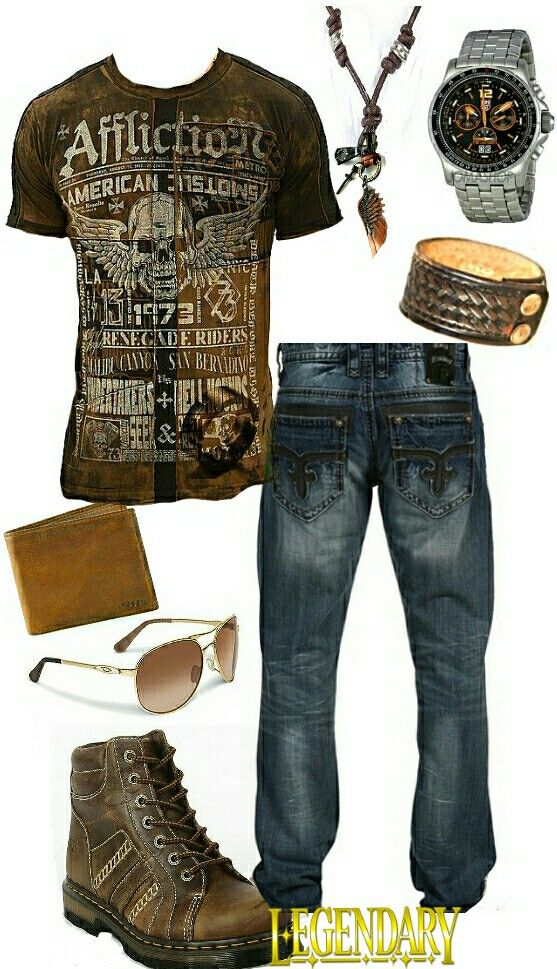 Men's fashion casual jeans outfit.  Yes! Affliction shirt~