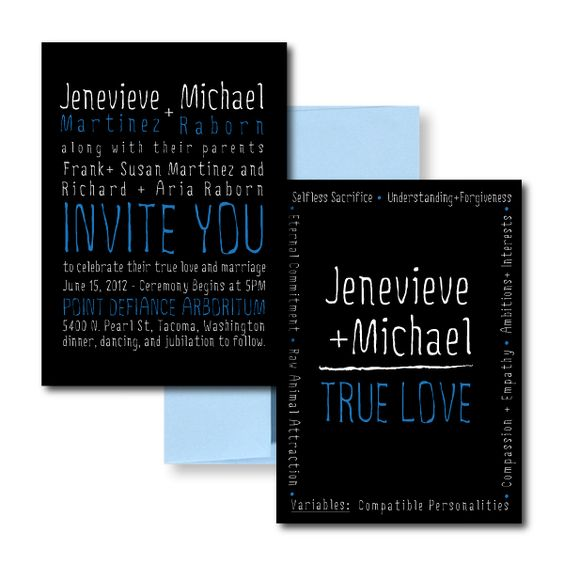 Black Wedding Invitations, Blue Wedding Invitations, Fun Wedding Invitations