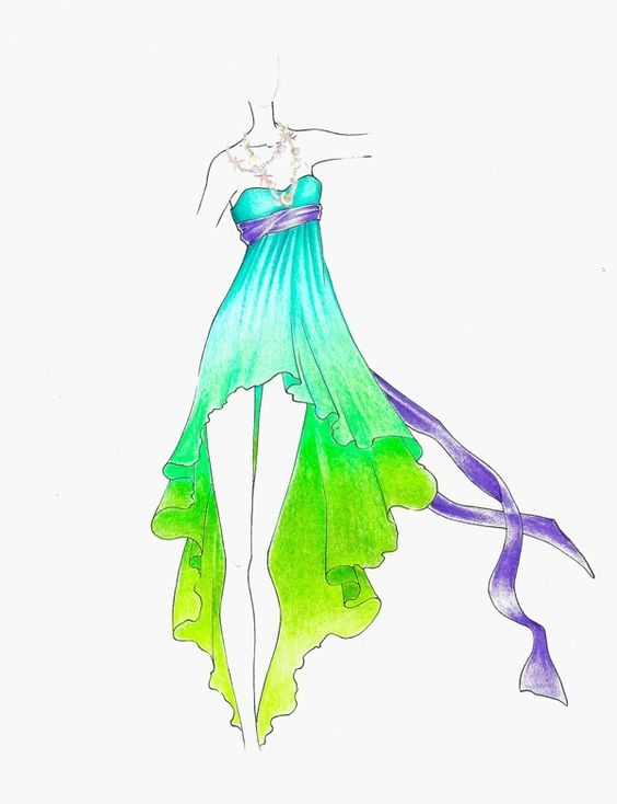 green and blue summer dress sketch fashion sketches
