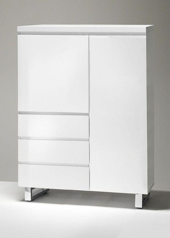Kommode mit 3 Schubladen Tür Hochglanz Weiß 4234. Buy now at https://www.moebel-wohnbar.de/kommode-mit-3-schubladen-tuer-hochglanz-weiss-4234.html