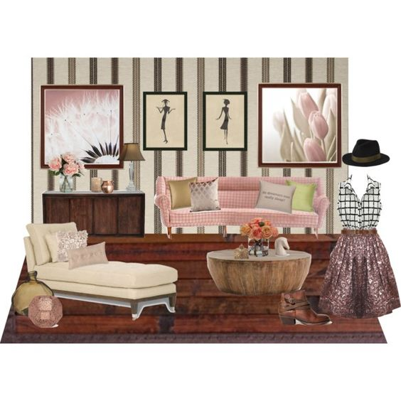 """""""Pink and Green Living Room"""""""