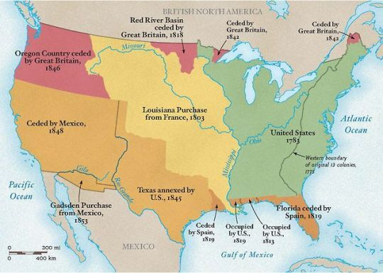 In Less Than 50 Years The Western Border Of United States Grew