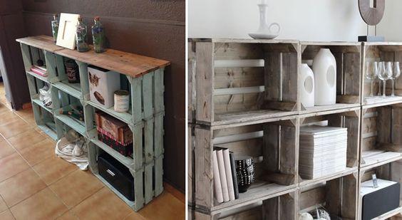 Estanter a de cajones de fruta reciclados house - Cajones para estanterias ...