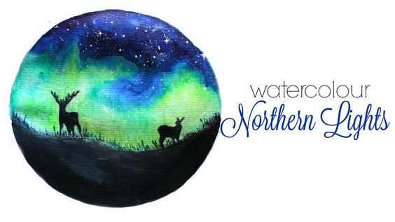 Northern Lights/ Aurora watercolour painting