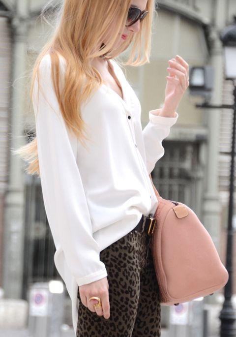 leopard print pants, blush tone bag, and ysl ring