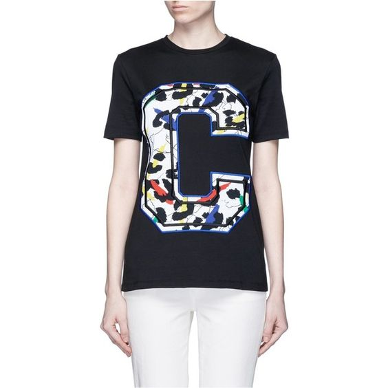 Etre Cecile 'Big C' abstract leopard print embroidery T-shirt ($105) ❤ liked on Polyvore featuring tops, t-shirts, graphic design t shirts, leopard t shirt, cotton jersey, leopard print t shirt and pattern t shirt