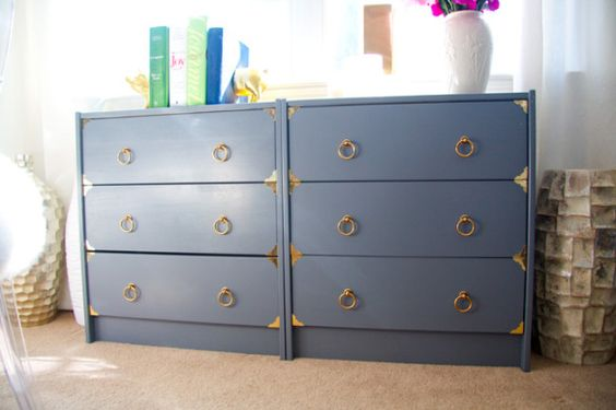 Ikea Rast dresser hack from Glitter & Goat Cheese! Painted 'em dark gray and added brass hardware.