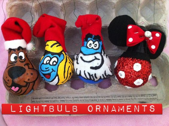 Christmas/Anytime lightbulb ornaments, made by : me! ❤️