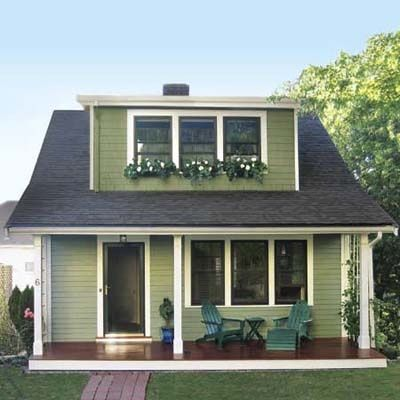 Green craftsman cottage with almond and hunter green trim 1920s craftsman bungalow exteriors - Hunter green exterior paint paint ...