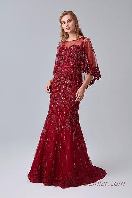 2019 abiye elbise modelleri kirmizi uzun yetim kol transparan yaka islemeli kiyafet kombinleri aksamustu giysileri the dress elbise modelleri