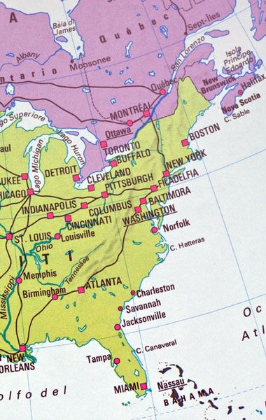 Stati Uniti East Coast con bambini -mappa