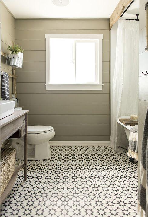 DIY Guest Bathroom transformation using encaustic cement tile:
