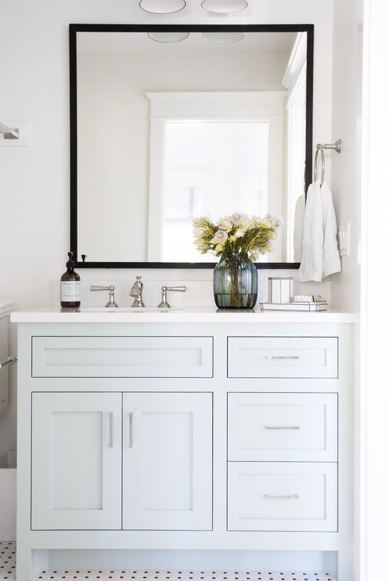 Black Trimmed Bathroom Mirrors White Vanity Bathroom Small