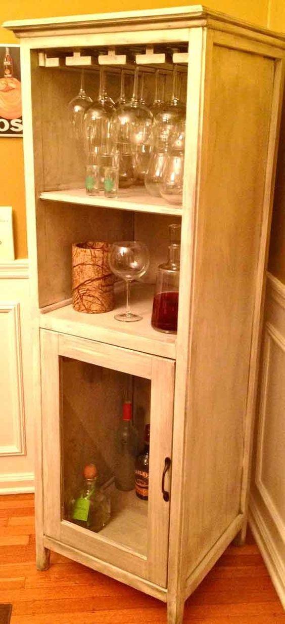 Ana white hutch storage media unit do it yourself for Diy liquor bar